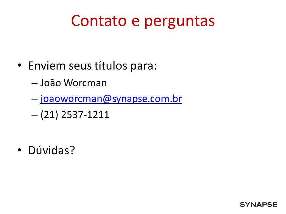 Contato e perguntas Enviem seus títulos para: – João Worcman – joaoworcman@synapse.com.br joaoworcman@synapse.com.br – (21) 2537-1211 Dúvidas?