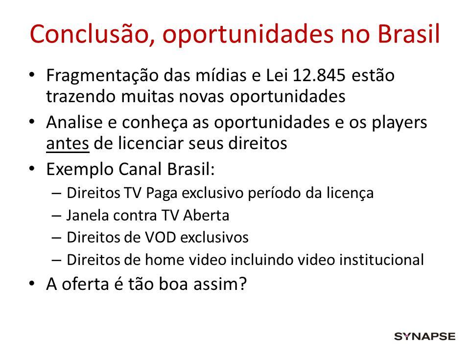 Conclusão, oportunidades no Brasil Fragmentação das mídias e Lei 12.845 estão trazendo muitas novas oportunidades Analise e conheça as oportunidades e