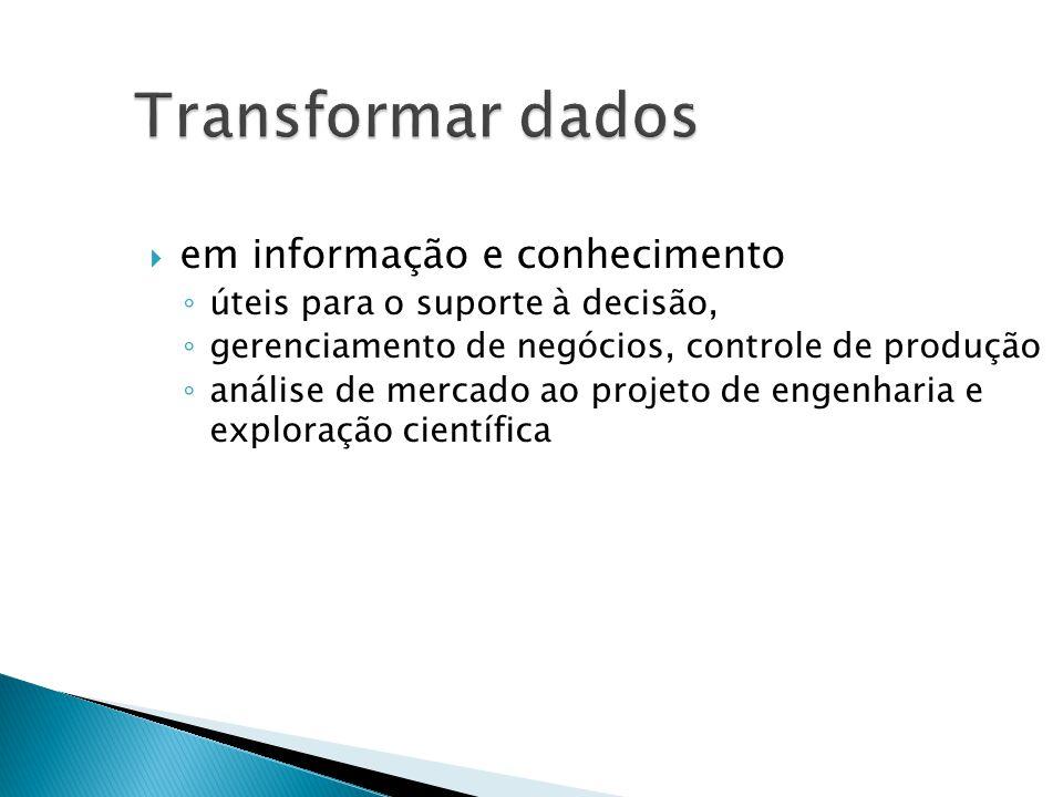 Transformar dados em informação e conhecimento úteis para o suporte à decisão, gerenciamento de negócios, controle de produção análise de mercado ao projeto de engenharia e exploração científica