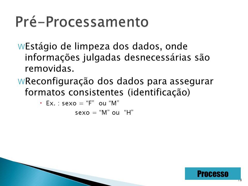18 W Estágio de limpeza dos dados, onde informações julgadas desnecessárias são removidas.