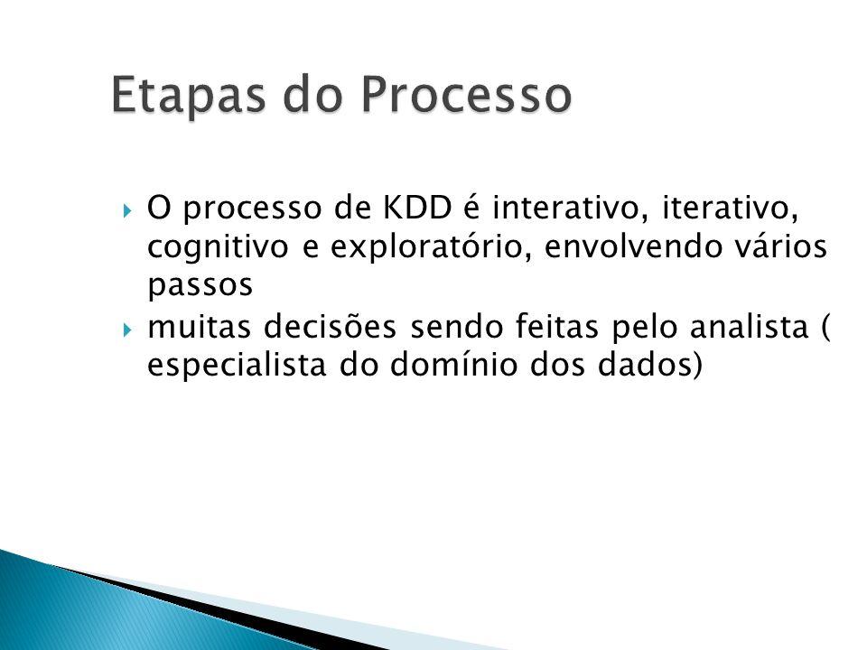 Etapas do Processo O processo de KDD é interativo, iterativo, cognitivo e exploratório, envolvendo vários passos muitas decisões sendo feitas pelo analista ( especialista do domínio dos dados)
