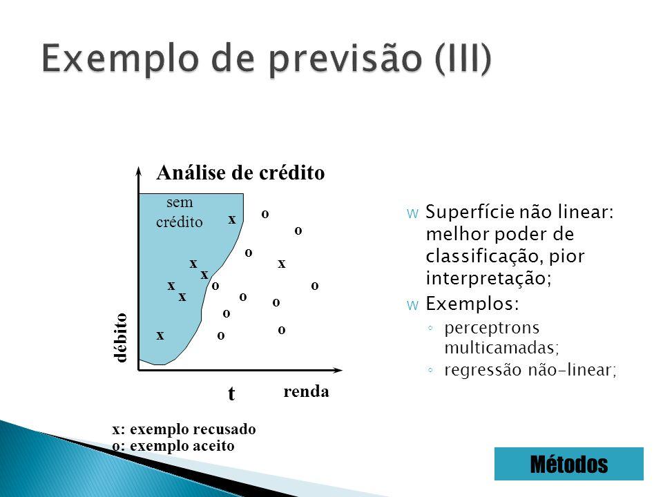 W Superfície não linear: melhor poder de classificação, pior interpretação; W Exemplos: perceptrons multicamadas; regressão não-linear; Análise de crédito renda débito x x x x x x x o o o o o o o o o t sem crédito o o: exemplo aceito x: exemplo recusado Métodos