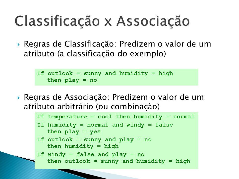 Regras de Classificação: Predizem o valor de um atributo (a classificação do exemplo) Regras de Associação: Predizem o valor de um atributo arbitrário