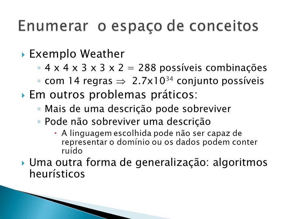 Exemplo Weather 4 x 4 x 3 x 3 x 2 = 288 possíveis combinações com 14 regras 2.7x10 34 conjunto possíveis Em outros problemas práticos: Mais de uma descrição pode sobreviver Pode não sobreviver uma descrição A linguagem escolhida pode não ser capaz de representar o domínio ou os dados podem conter ruído Uma outra forma de generalização: algoritmos heurísticos