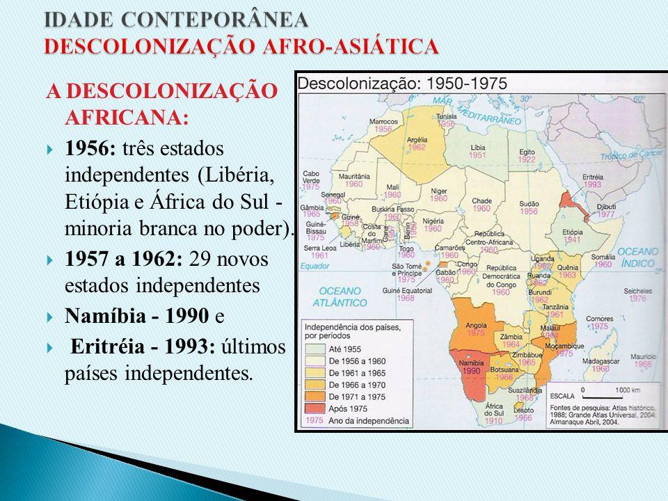 A DESCOLONIZAÇÃO AFRICANA: 1956: três estados independentes (Libéria, Etiópia e África do Sul - minoria branca no poder).