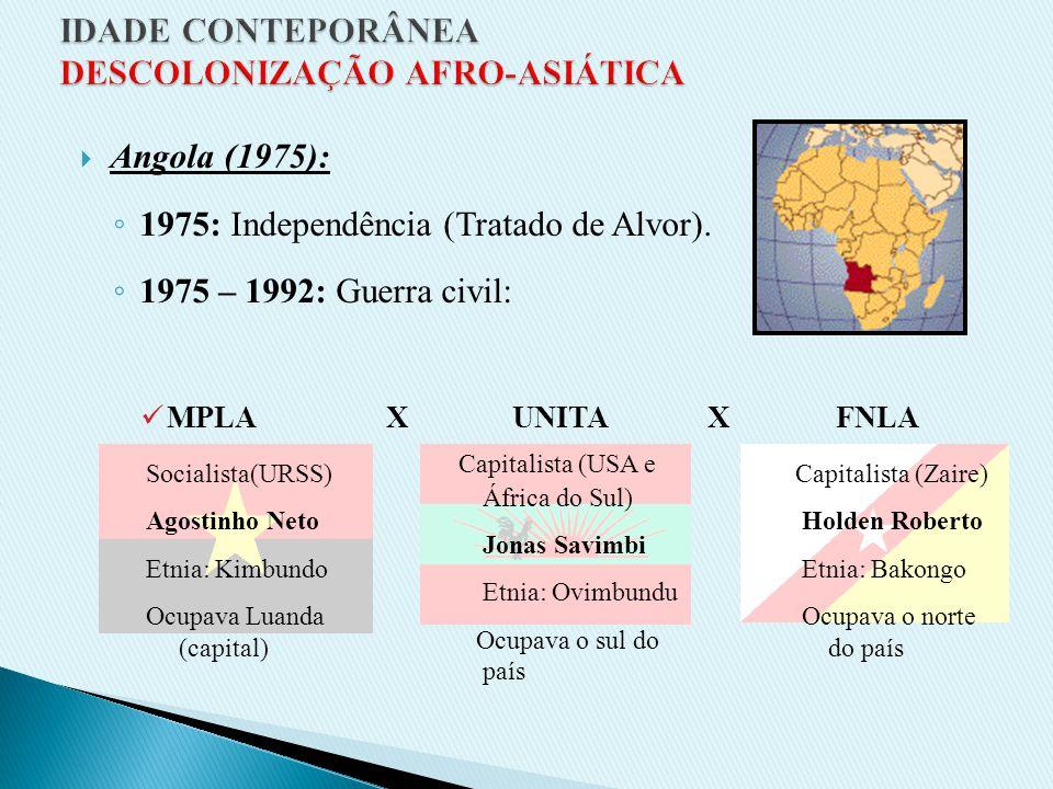 C) ÁFRICA PORTUGUESA 1974: Revolução dos Cravos (POR) – movimento militar que derrubou a ditadura salazarista e implantou a democracia em POR. Fim da