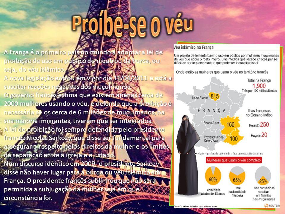 A França é o primeiro país no mundo a adoptar a lei de proibição de uso em público do niqab ou da burca, ou seja, do véu islâmico. A França é o primei