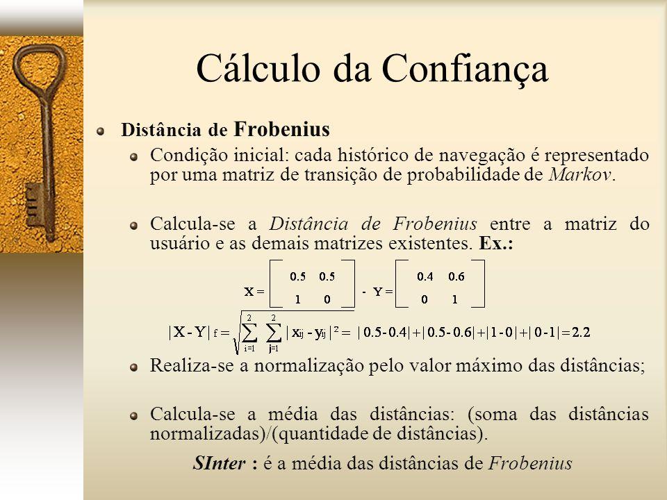 Distância de Frobenius Condição inicial: cada histórico de navegação é representado por uma matriz de transição de probabilidade de Markov. Calcula-se