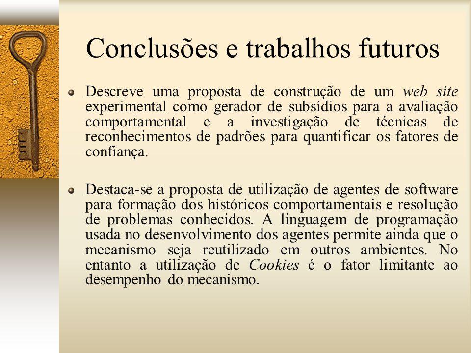 Conclusões e trabalhos futuros Descreve uma proposta de construção de um web site experimental como gerador de subsídios para a avaliação comportament