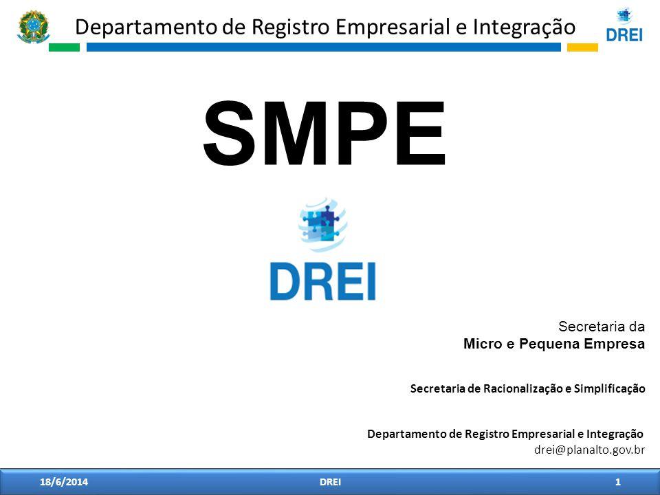 Departamento de Registro Empresarial e Integração 18/6/20141DREI Secretaria da Micro e Pequena Empresa Secretaria de Racionalização e Simplificação SM