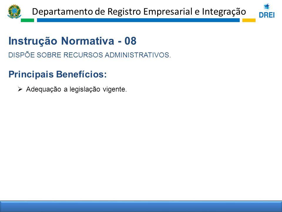 Departamento de Registro Empresarial e Integração Instrução Normativa - 08 DISPÕE SOBRE RECURSOS ADMINISTRATIVOS. Principais Benefícios: Adequação a l
