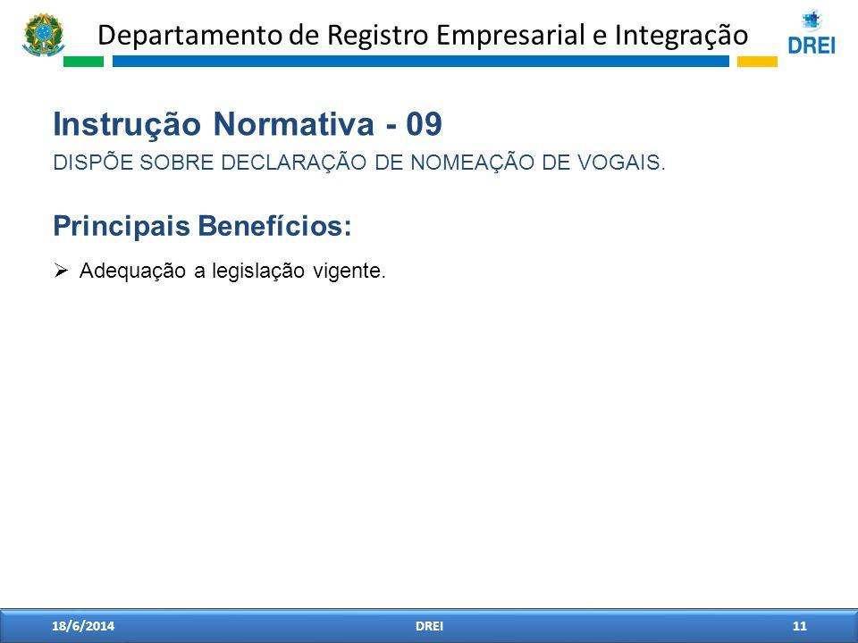 Departamento de Registro Empresarial e Integração 18/6/2014DREI11 Instrução Normativa - 09 DISPÕE SOBRE DECLARAÇÃO DE NOMEAÇÃO DE VOGAIS. Adequação a