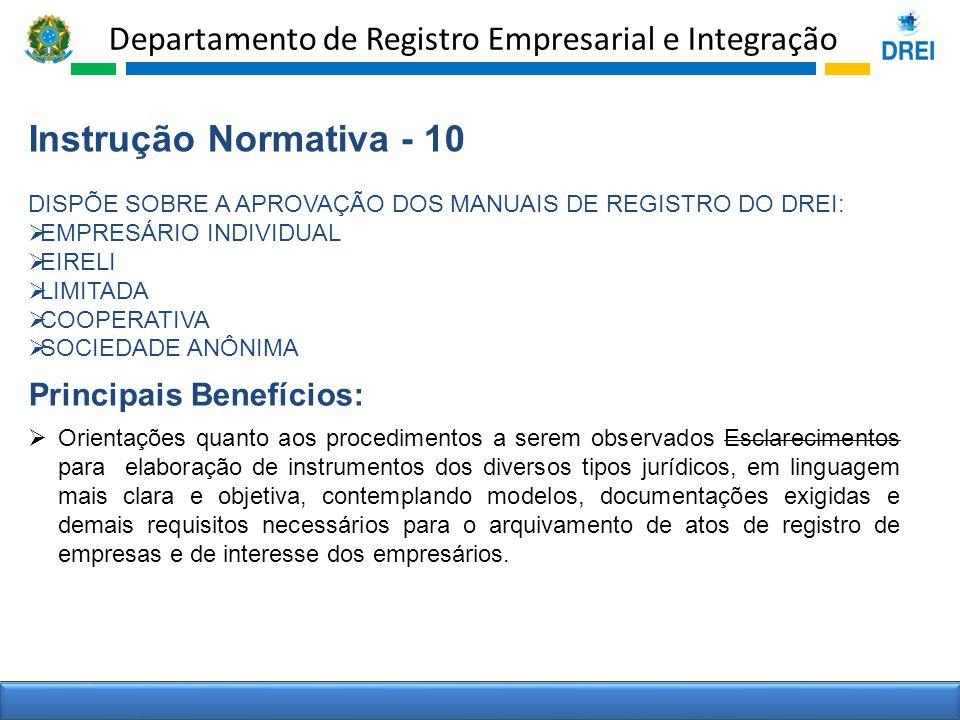 Departamento de Registro Empresarial e Integração Instrução Normativa - 10 DISPÕE SOBRE A APROVAÇÃO DOS MANUAIS DE REGISTRO DO DREI: EMPRESÁRIO INDIVI
