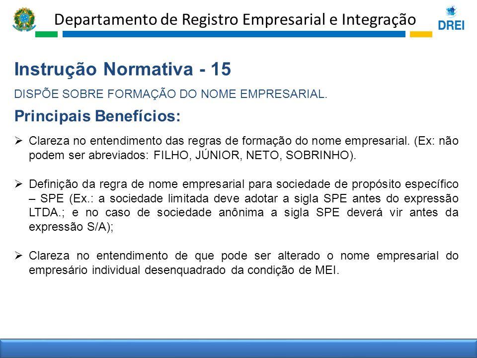 Departamento de Registro Empresarial e Integração Instrução Normativa - 15 DISPÕE SOBRE FORMAÇÃO DO NOME EMPRESARIAL. Clareza no entendimento das regr