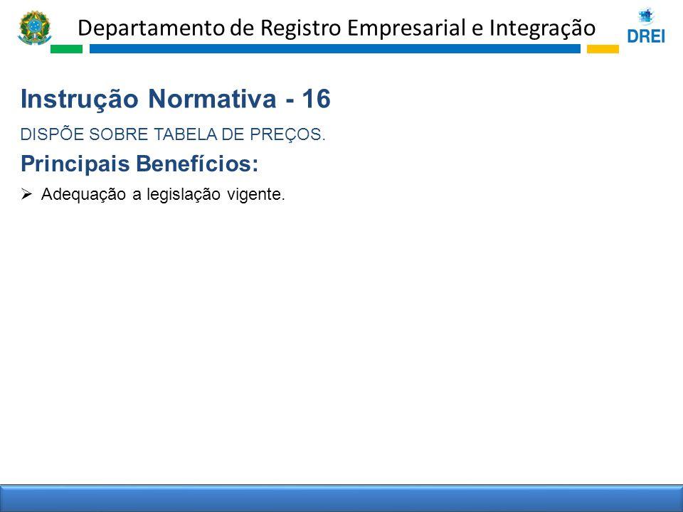 Departamento de Registro Empresarial e Integração Instrução Normativa - 16 DISPÕE SOBRE TABELA DE PREÇOS. Adequação a legislação vigente. Principais B