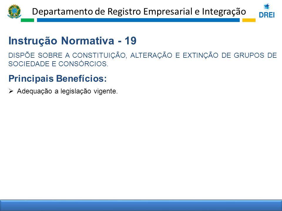 Departamento de Registro Empresarial e Integração Instrução Normativa - 19 DISPÕE SOBRE A CONSTITUIÇÃO, ALTERAÇÃO E EXTINÇÃO DE GRUPOS DE SOCIEDADE E