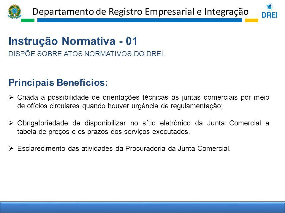 Departamento de Registro Empresarial e Integração Instrução Normativa - 01 DISPÕE SOBRE ATOS NORMATIVOS DO DREI. Criada a possibilidade de orientações