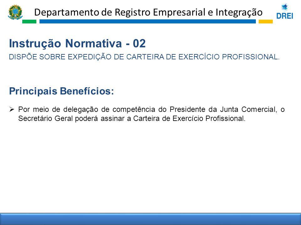 Departamento de Registro Empresarial e Integração Instrução Normativa - 02 DISPÕE SOBRE EXPEDIÇÃO DE CARTEIRA DE EXERCÍCIO PROFISSIONAL. Por meio de d