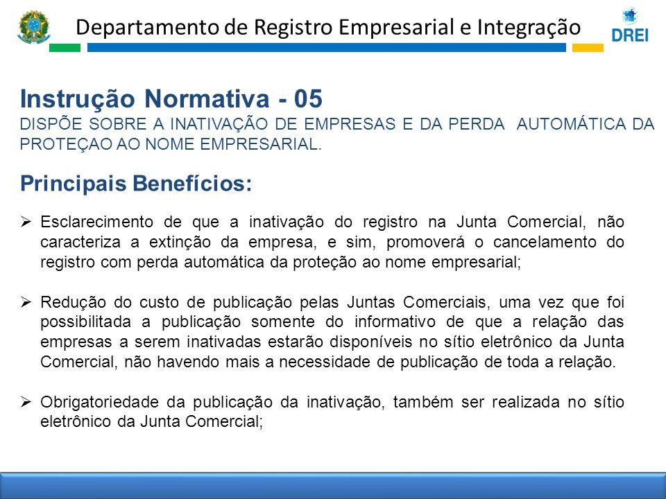 Departamento de Registro Empresarial e Integração Instrução Normativa - 05 DISPÕE SOBRE A INATIVAÇÃO DE EMPRESAS E DA PERDA AUTOMÁTICA DA PROTEÇAO AO