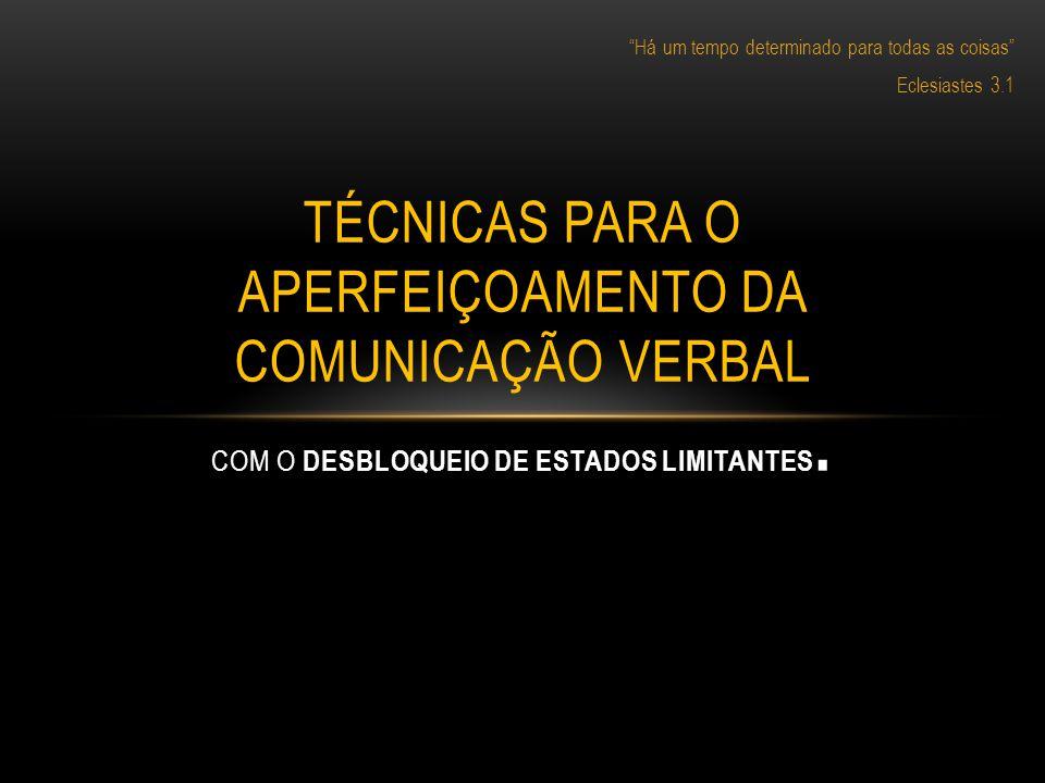 Há um tempo determinado para todas as coisas Eclesiastes 3.1 TÉCNICAS PARA O APERFEIÇOAMENTO DA COMUNICAÇÃO VERBAL COM O DESBLOQUEIO DE ESTADOS LIMITA