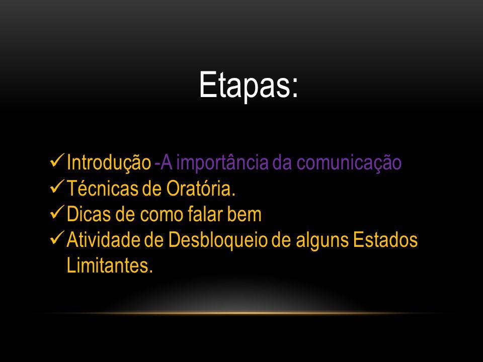 Etapas: Introdução -A importância da comunicação Técnicas de Oratória. Dicas de como falar bem Atividade de Desbloqueio de alguns Estados Limitantes.