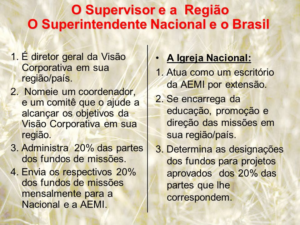 O Supervisor e a Região O Superintendente Nacional e o Brasil O Supervisor e a Região O Superintendente Nacional e o Brasil 1.