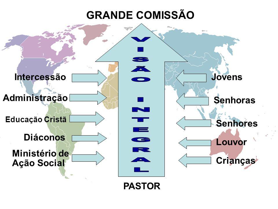 GRANDE COMISSÃO Intercessão Administração Educação Cristã Diáconos Ministério de Ação Social Jovens Senhoras Senhores Louvor Crianças PASTOR