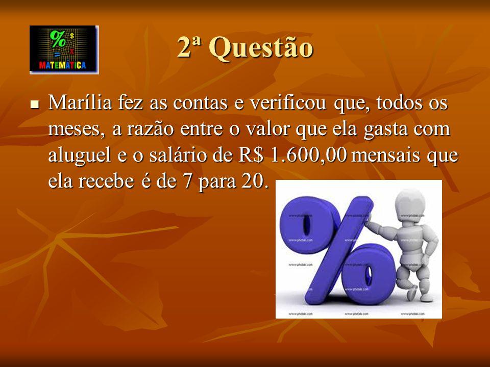 A) Determine a porcentagem do salário e o valor em reais que Marília gasta com aluguel.