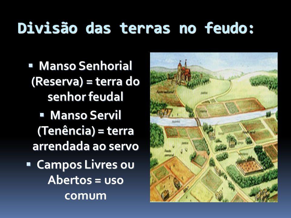 Divisão das terras no feudo: Manso Senhorial (Reserva) = terra do senhor feudal Manso Senhorial (Reserva) = terra do senhor feudal Manso Servil (Tenên