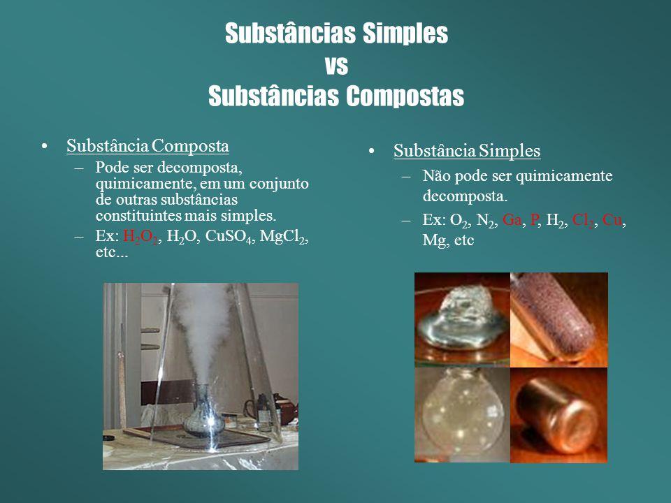 Substâncias Simples vs Substâncias Compostas Substância Composta –Pode ser decomposta, quimicamente, em um conjunto de outras substâncias constituinte