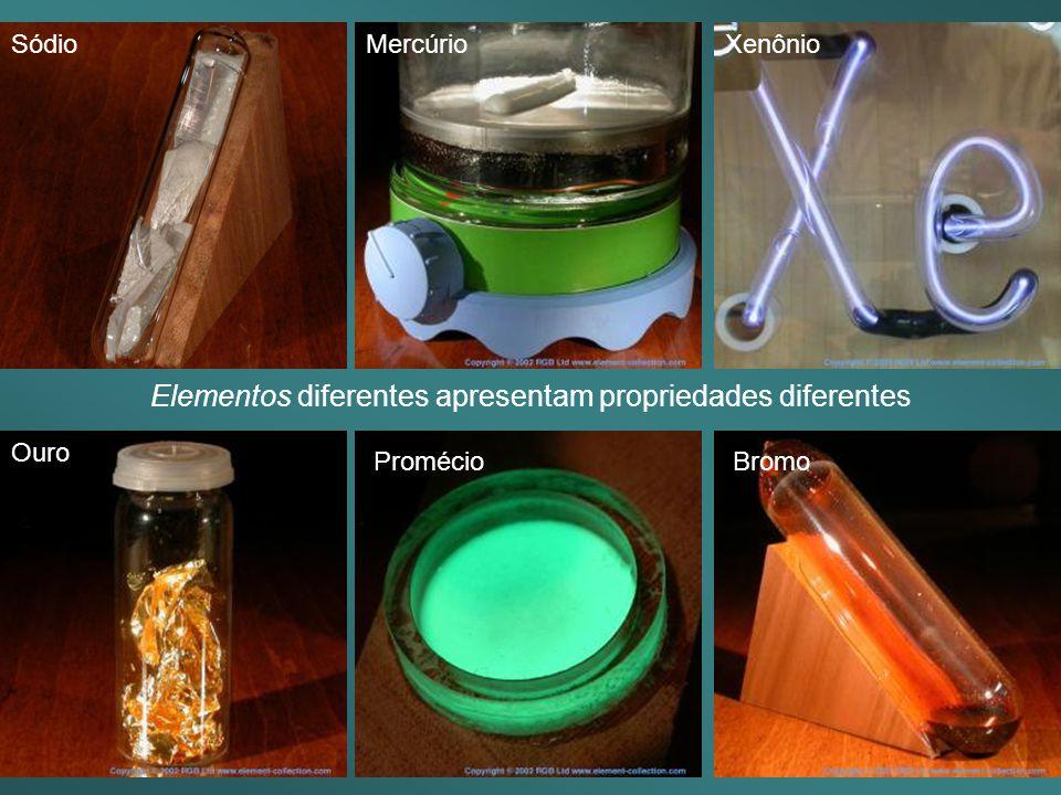Elementos diferentes apresentam propriedades diferentes SódioMercúrioXenônio Ouro Promécio Bromo