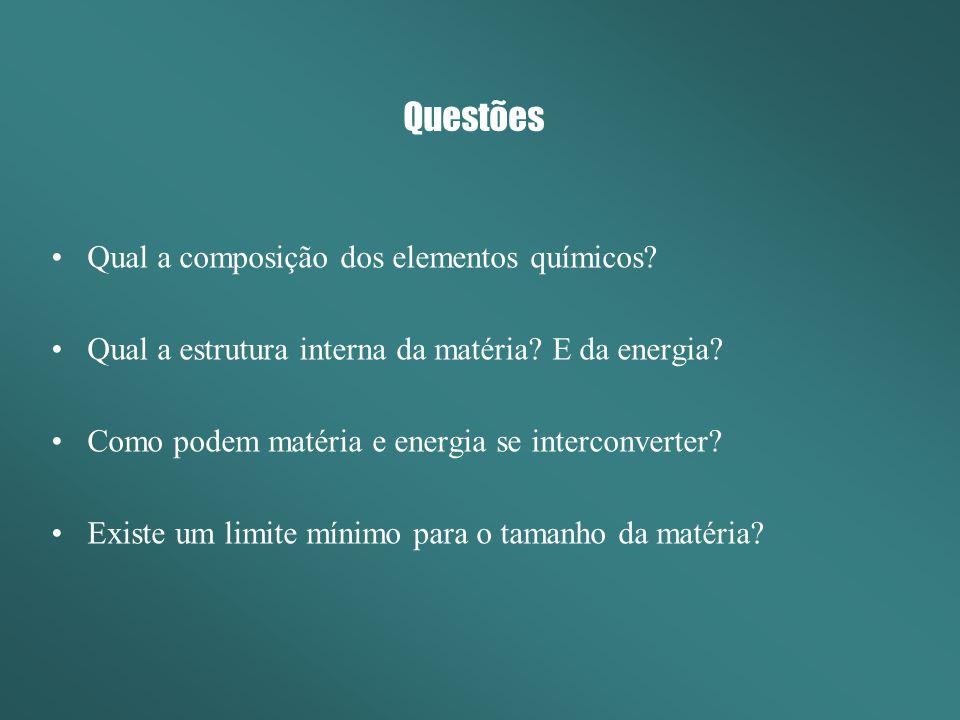 Questões Qual a composição dos elementos químicos? Qual a estrutura interna da matéria? E da energia? Como podem matéria e energia se interconverter?