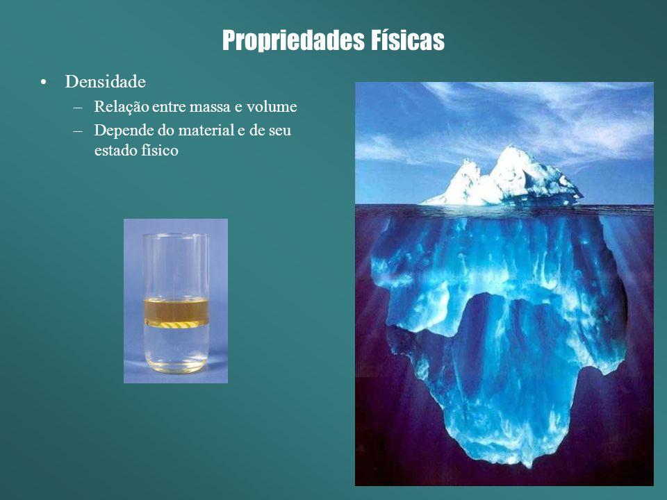 Propriedades Físicas Densidade –Relação entre massa e volume –Depende do material e de seu estado físico