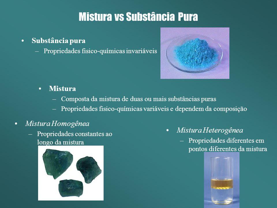 Mistura vs Substância Pura Substância pura –Propriedades fisico-químicas invariáveis Mistura –Composta da mistura de duas ou mais substâncias puras –P
