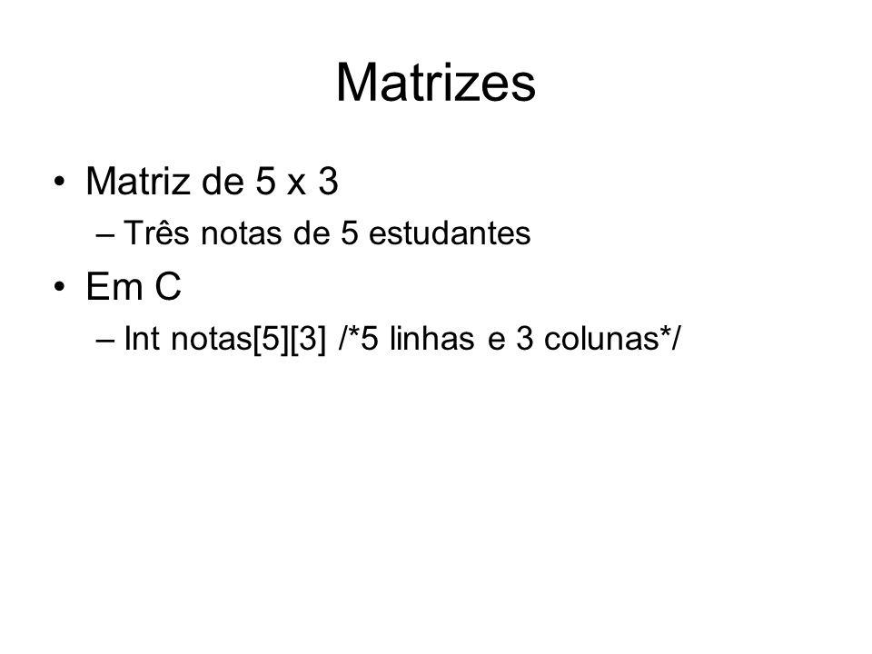 Matrizes Matriz de 5 x 3 –Três notas de 5 estudantes Em C –Int notas[5][3] /*5 linhas e 3 colunas*/