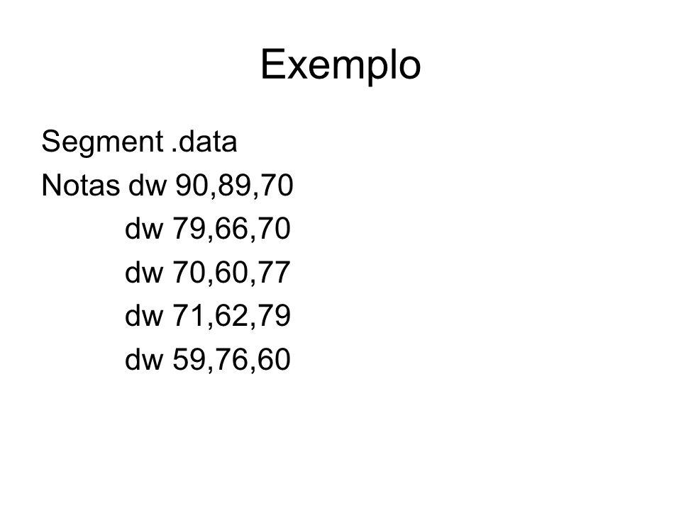 Exemplo Segment.data Notas dw 90,89,70 dw 79,66,70 dw 70,60,77 dw 71,62,79 dw 59,76,60