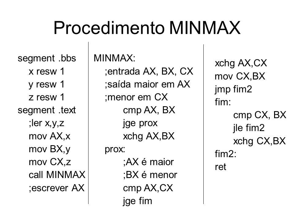 Procedimento MINMAX segment.bbs x resw 1 y resw 1 z resw 1 segment.text ;ler x,y,z mov AX,x mov BX,y mov CX,z call MINMAX ;escrever AX MINMAX: ;entrada AX, BX, CX ;saída maior em AX ;menor em CX cmp AX, BX jge prox xchg AX,BX prox: ;AX é maior ;BX é menor cmp AX,CX jge fim xchg AX,CX mov CX,BX jmp fim2 fim: cmp CX, BX jle fim2 xchg CX,BX fim2: ret