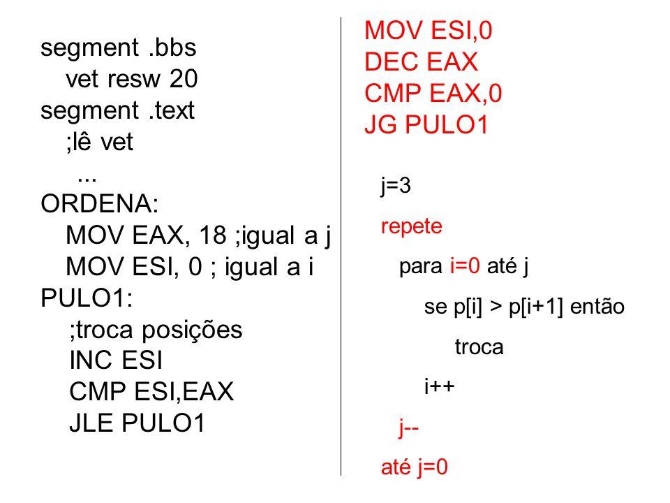 j=3 repete para i=0 até j se p[i] > p[i+1] então troca i++ j-- até j=0 segment.bbs vet resw 20 segment.text ;lê vet... ORDENA: MOV EAX, 18 ;igual a j