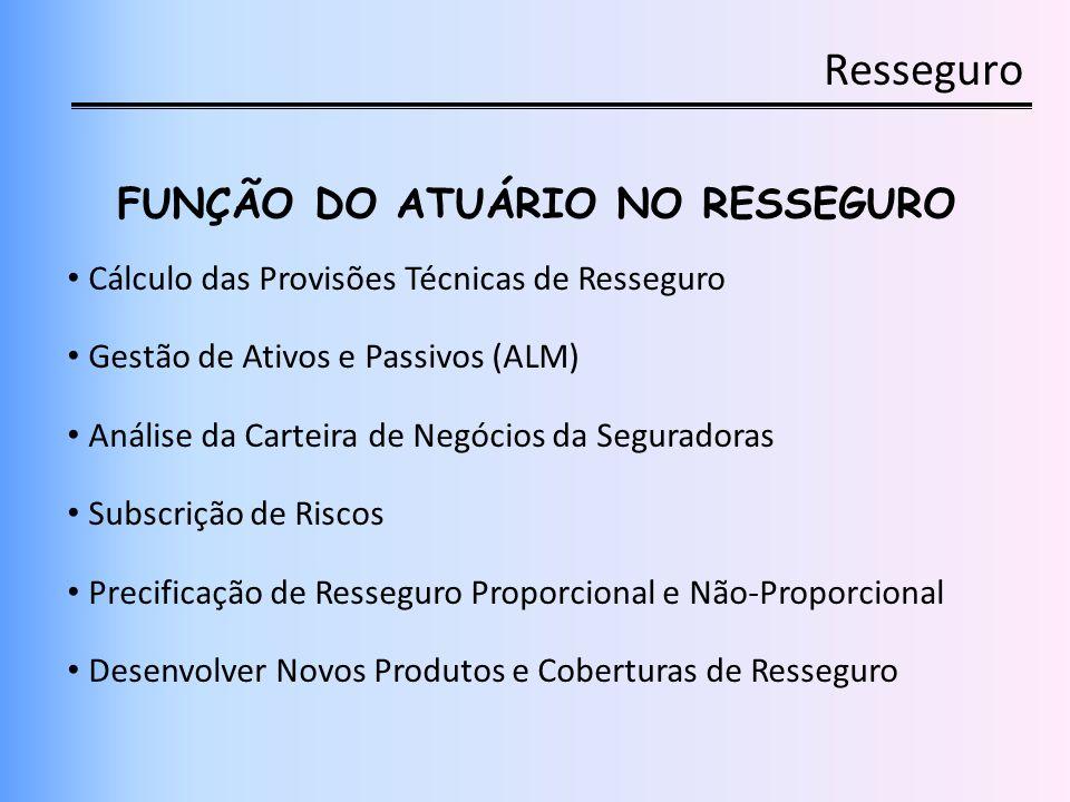 Resseguro FUNÇÃO DO ATUÁRIO NO RESSEGURO Cálculo das Provisões Técnicas de Resseguro Gestão de Ativos e Passivos (ALM) Análise da Carteira de Negócios