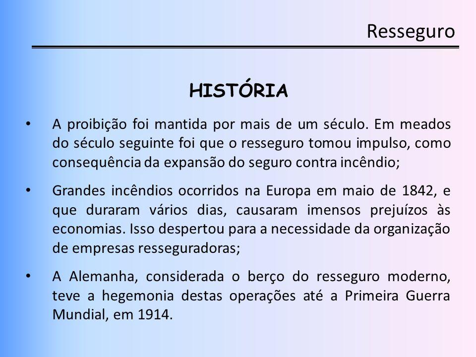 Resseguro HISTÓRIA A proibição foi mantida por mais de um século. Em meados do século seguinte foi que o resseguro tomou impulso, como consequência da