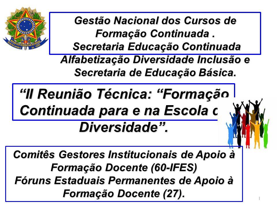 1 II Reunião Técnica: Formação Continuada para e na Escola da Diversidade. Gestão Nacional dos Cursos de Formação Continuada. Secretaria Educação Cont