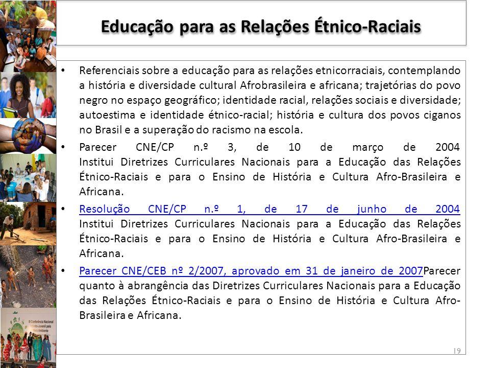 Referenciais sobre a educação para as relações etnicorraciais, contemplando a história e diversidade cultural Afrobrasileira e africana; trajetórias do povo negro no espaço geográfico; identidade racial, relações sociais e diversidade; autoestima e identidade étnico-racial; história e cultura dos povos ciganos no Brasil e a superação do racismo na escola.