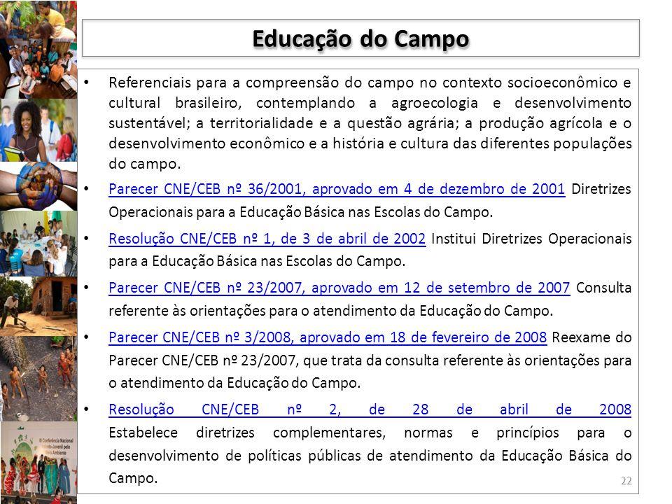 Referenciais para a compreensão do campo no contexto socioeconômico e cultural brasileiro, contemplando a agroecologia e desenvolvimento sustentável;