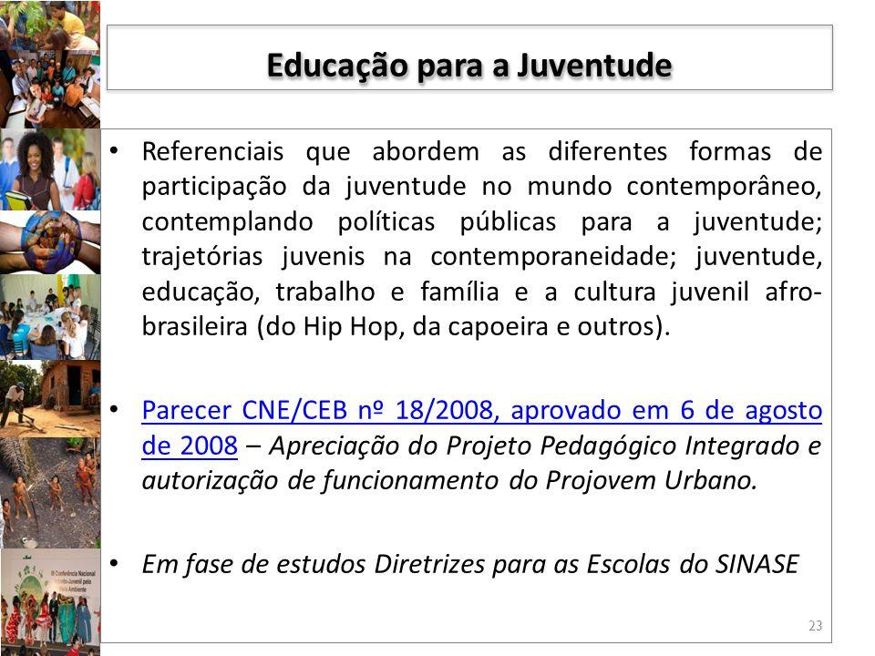 Referenciais que abordem as diferentes formas de participação da juventude no mundo contemporâneo, contemplando políticas públicas para a juventude; trajetórias juvenis na contemporaneidade; juventude, educação, trabalho e família e a cultura juvenil afro- brasileira (do Hip Hop, da capoeira e outros).