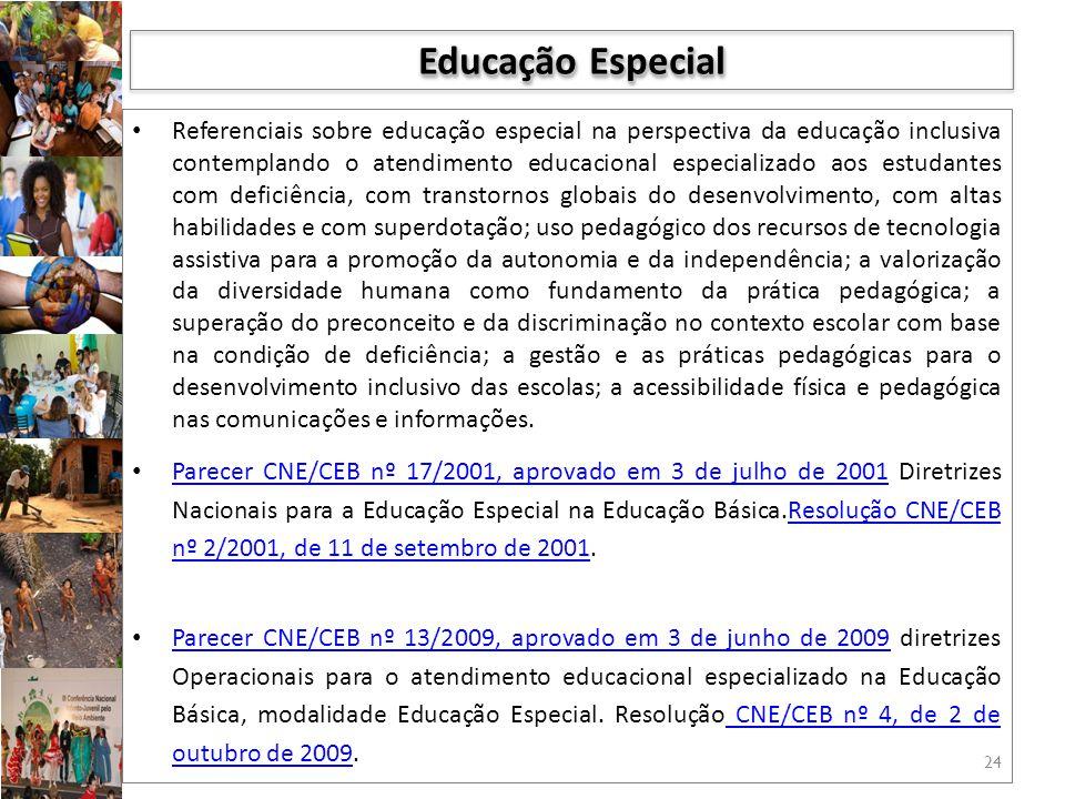 Referenciais sobre educação especial na perspectiva da educação inclusiva contemplando o atendimento educacional especializado aos estudantes com defi