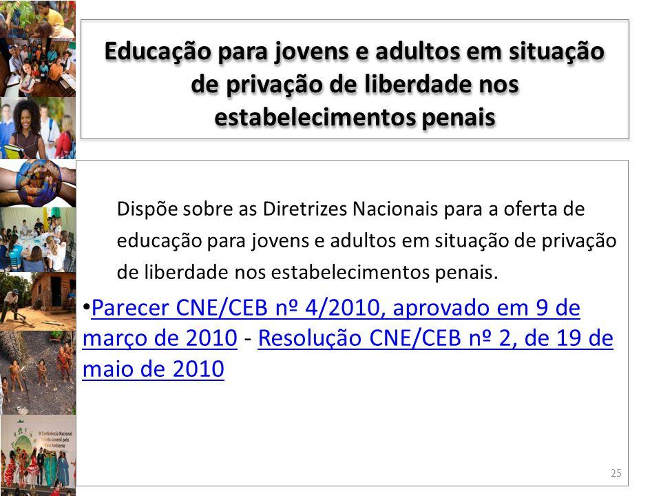 Dispõe sobre as Diretrizes Nacionais para a oferta de educação para jovens e adultos em situação de privação de liberdade nos estabelecimentos penais.