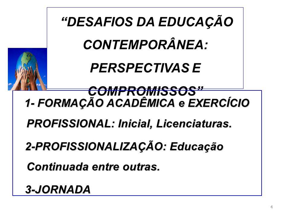 DESAFIOS DA EDUCAÇÃO CONTEMPORÂNEA: PERSPECTIVAS E COMPROMISSOS 4 1- FORMAÇÃO ACADÊMICA e EXERCÍCIO PROFISSIONAL: Inicial, Licenciaturas. 2-PROFISSION