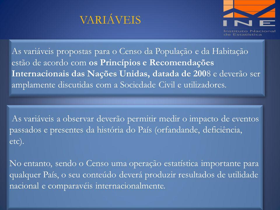 VARIÁVEIS As variáveis propostas para o Censo da População e da Habitação estão de acordo com os Princípios e Recomendações Internacionais das Nações