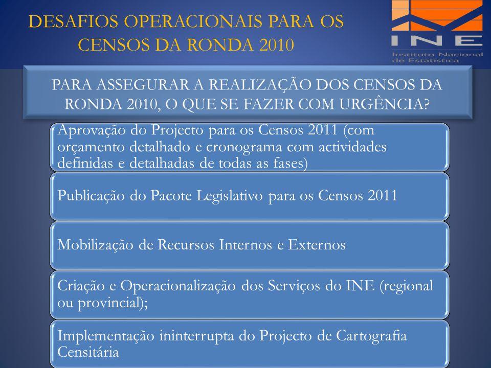 DESAFIOS OPERACIONAIS PARA OS CENSOS DA RONDA 2010 Aprovação do Projecto para os Censos 2011 (com orçamento detalhado e cronograma com actividades def