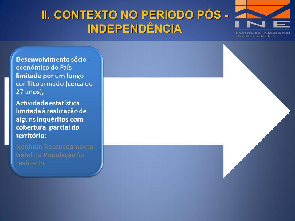 II. CONTEXTO NO PERIODO PÓS - INDEPENDÊNCIA II. CONTEXTO NO PERIODO PÓS - INDEPENDÊNCIA Desenvolvimento sócio- económico do País limitado por um longo